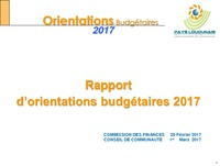 RAPPORT ORIENTATIONS BUDGETAIRES 2017