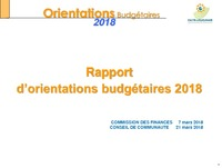 ORIENTATIONS BUDGETAIRES 2018