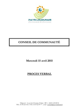 PV Conseil Communautaire 150415