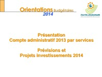 RAPPORT ORIENTATIONS BUDGETAIRES 2014