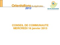RAPPORT ORIENTATIONS BUDGETAIRES 2013