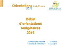 RAPPORT ORIENTATIONS BUDGETAIRES 2016
