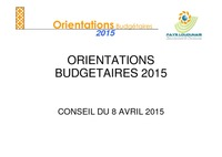 RAPPORT ORIENTATIONS BUDGETAIRES 2015